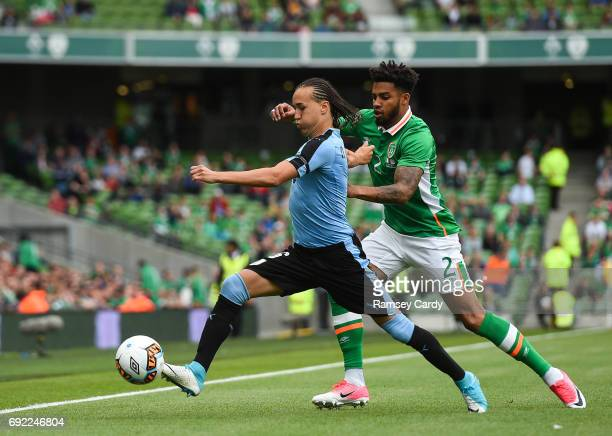Leinster Ireland 4 May 2017 Diego Laxalt of Uruguay in action against Cyrus Christie of Republic of Ireland during the international friendly match...