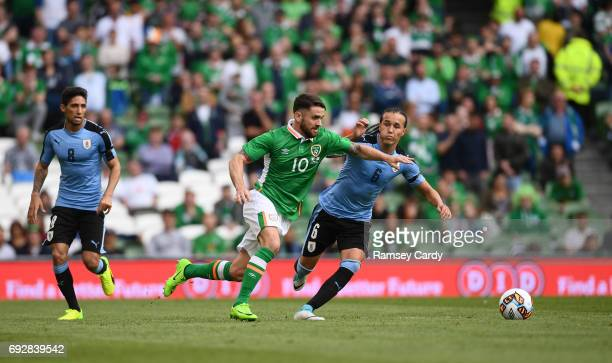 Leinster Ireland 4 May 2017 Robbie Brady of Republic of Ireland in action against Diego Laxalt of Uruguay during the international friendly match...