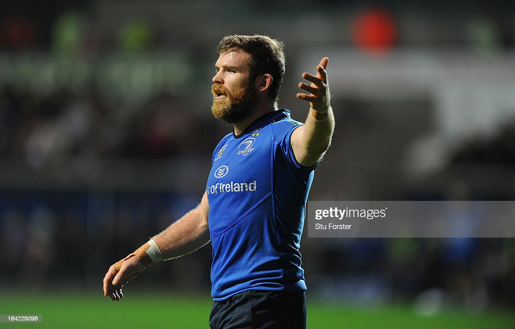 Leinster player <a gi-track='captionPersonalityLinkClicked' href=/galleries/search?phrase=Gordon+D%27Arcy&family=editorial&specificpeople=220551 ng-click='$event.stopPropagation()'>Gordon D'Arcy</a> reacts during the Heineken Cup Pool1 game between Ospreys and Leinster at Liberty Stadium on October 12, 2013 in Swansea, Wales.