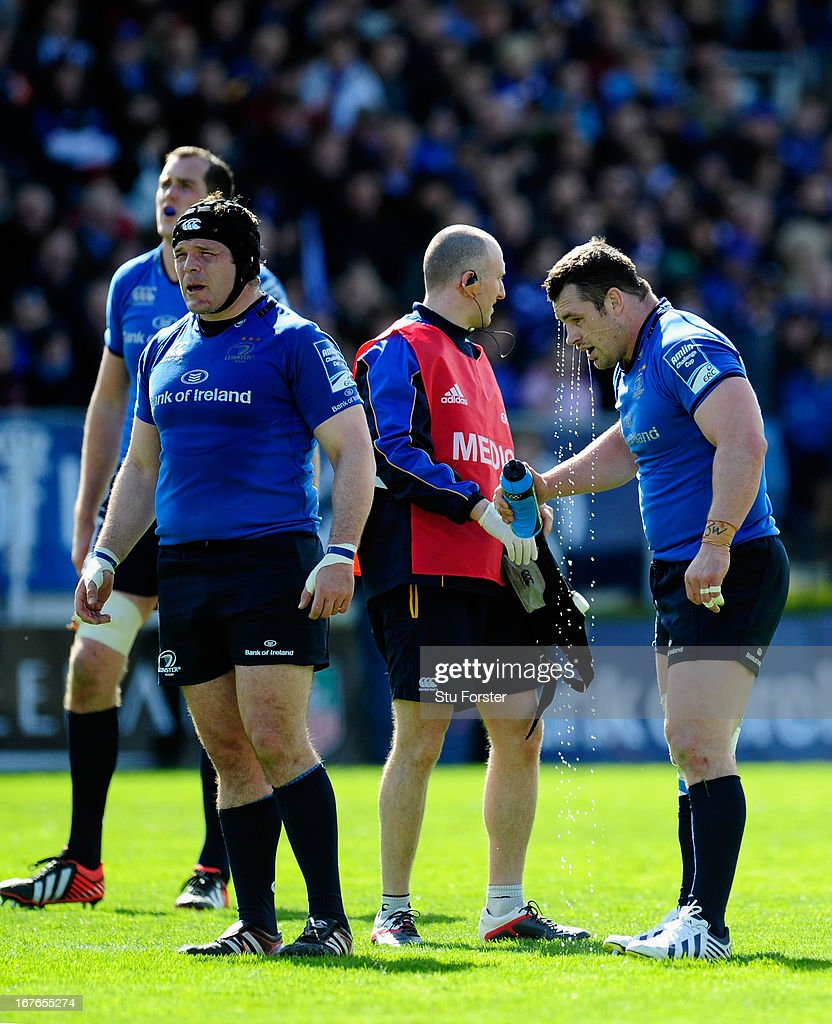 Leinster playerCian Healy takes on water during the Amlin Challenge Cup Semi Final match between Leinster and Biarritz Olympique at Royal Dublin...