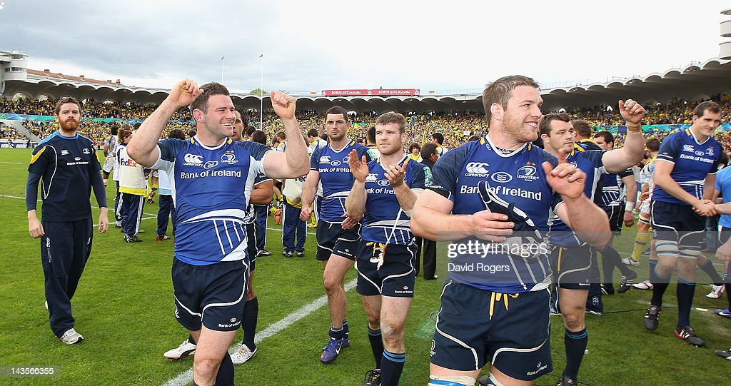Leinster players celebrate after their victory during the Heineken Cup semi final match between ASM Clermont Auvergne and Leinster at Stade Chaban-Delmas on April 29, 2012 in Bordeaux, France.