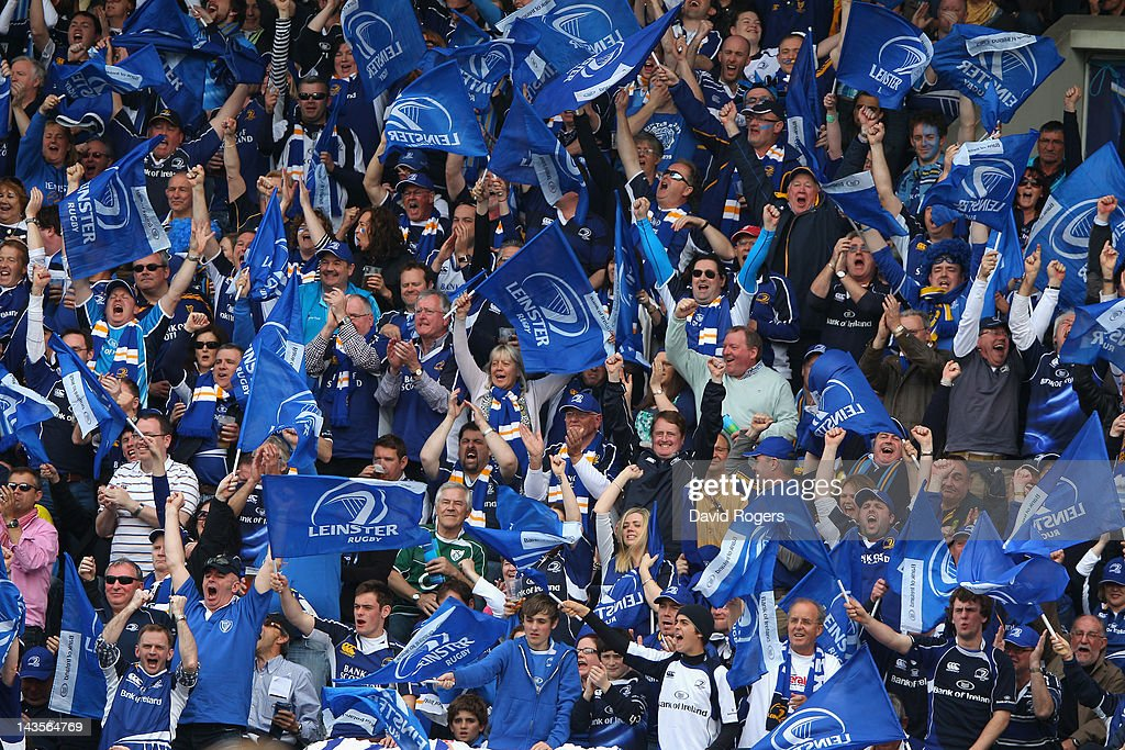 Leinster supporters celebrate their teams victory during the Heineken Cup semi final match between ASM Clermont Auvergne and Leinster at Stade Chaban-Delmas on April 29, 2012 in Bordeaux, France.