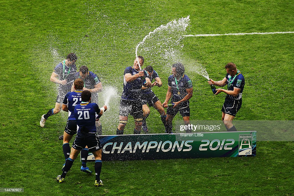 Leinster team spray champagne as they celebrate victory during the Heineken Cup Final between Leinster and Ulster at Twickenham Stadium on May 19, 2012 in London, United Kingdom.