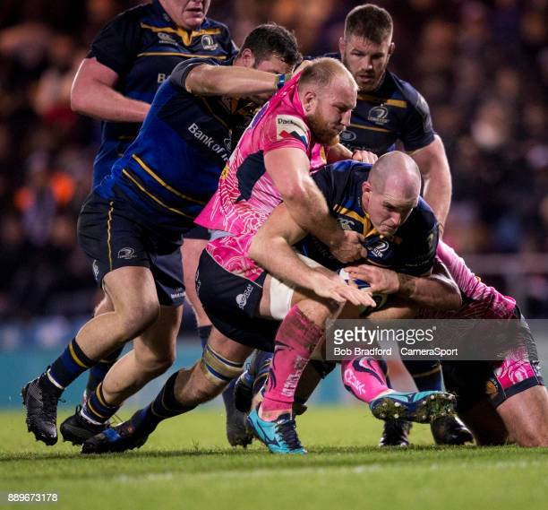 Leinster's Devin Toner goes for the line during the European Rugby Champions Cup match between Exeter Chiefs and Leinster Rugby at Sandy Park on...
