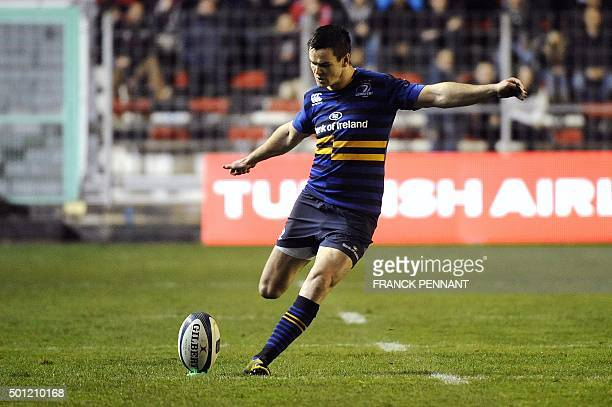 Leinster's Irish flyhalf Jonathan Sexton kicks the ball during the European Rugby Champions Cup rugby union match between Toulon and Leinster at the...