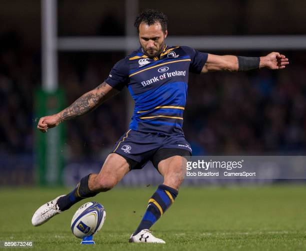 Leinster's Isa Nacewa kicks a conversion during the European Rugby Champions Cup match between Exeter Chiefs and Leinster Rugby at Sandy Park on...