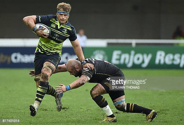 Leinster's Jamie Heaslip runs with the ball during the European Rugby Champions Cup rugby match between Montpellier and Leinster at the Altrad...
