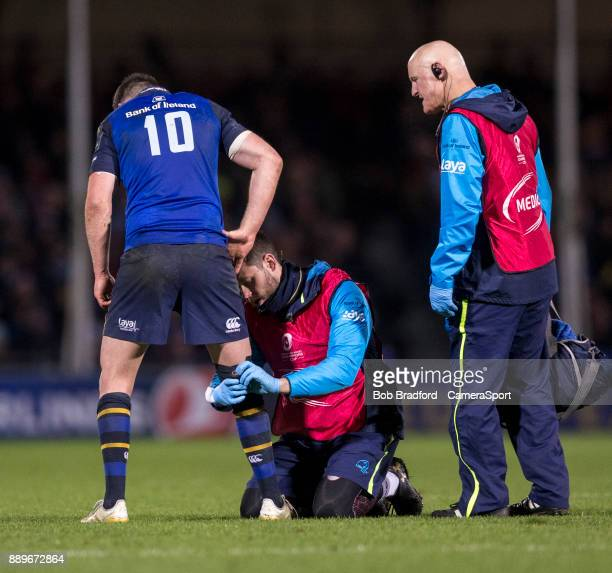 Leinster's Johnny Sexton receives treatment during the European Rugby Champions Cup match between Exeter Chiefs and Leinster Rugby at Sandy Park on...