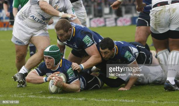 Leinster's Sean O'Brien scores a try against Montpellier during the Heineken Cup Pool three match at the RDS Dublin Ireland