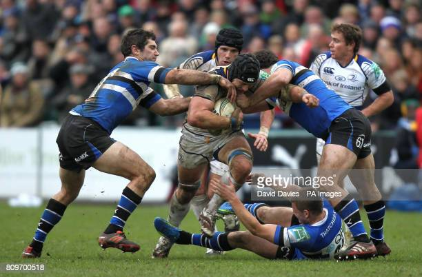 Leinster's Sean O'Brien tries to break through the Bath defence during the Heineken Cup match at the Recreation Ground Bath