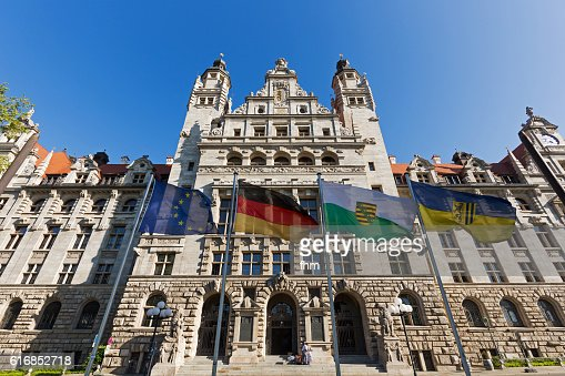Leipzig new city hall (Neues Rathaus) with flags : Stock Photo
