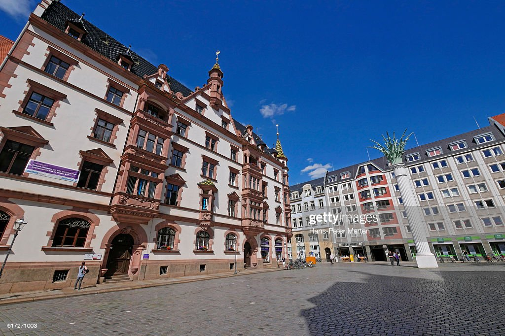 Leipzig, Nikolaikirchhof and Nikolaisäule, Saxony : Stock Photo