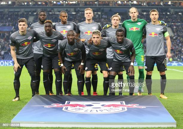 Leipzig players pose for a team photo before the start of the UEFA Champions League match between FC Porto and RB Leipzig at Estadio do Dragao on...