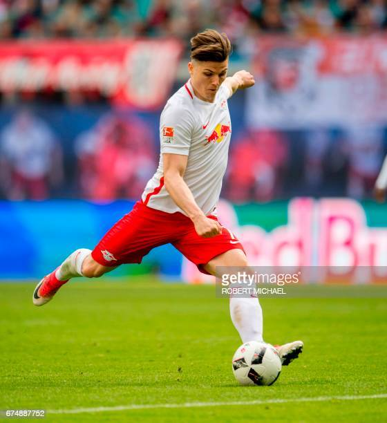 Leipzig´s Austrian forward Marcel Sabitzer plays the ball during the German first division Bundesliga football match between RB Leipzig and FC...