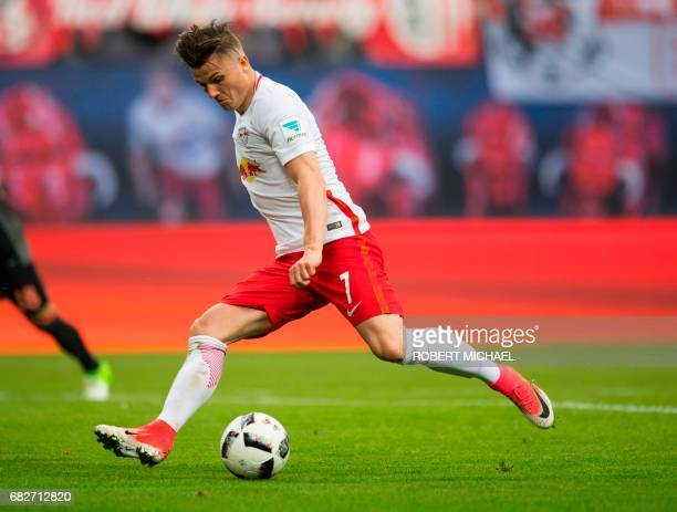 Leipzig´s Austrian forward Marcel Sabitzer plays the ball during the German first division Bundesliga football match between RB Leipzig and FC Bayern...