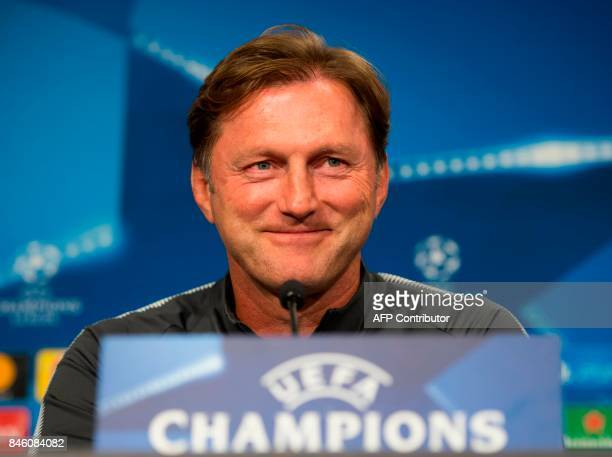 Leipzig's Austrian headcoach Ralph Hasenhuettl attends a press conference on the eve of the UEFA Champions League football match between RB Leipzig...
