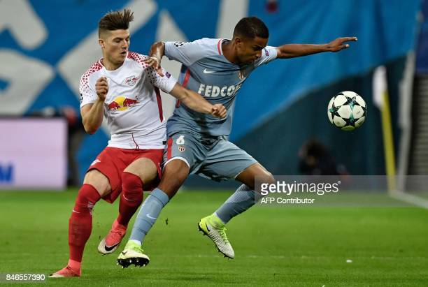 Leipzig's Austrian midfielder Marcel Sabitzer and Monaco's Brazilian defender Jorge vie for the ball during the Champions League group G football...