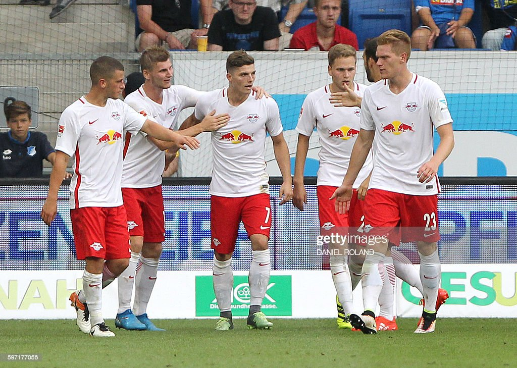 Leipzig's Austrian midfielder Marcel Sabitzer celebrate scoring the 22 during the German first division Bundesliga football match of TSG 1899...