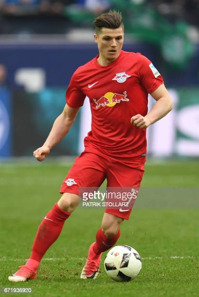 Leipzig´s Austrian midfielder Marcel Sabitzer plays the ball during the German first division Bundesliga football match of FC Schalke vs RB Leipzig...