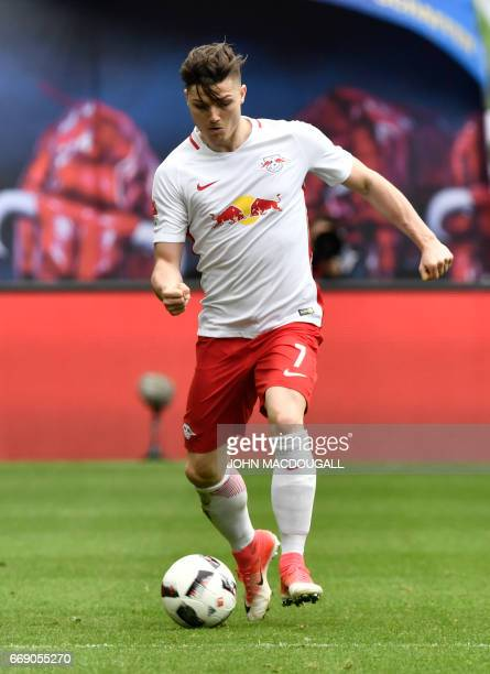 Leipzig's Austrian midfielder Marcel Sabitzer runs with the ball during the Bundesliga match RB Leipzig vs SC Freiburg in Leipzig on April 15 2017...