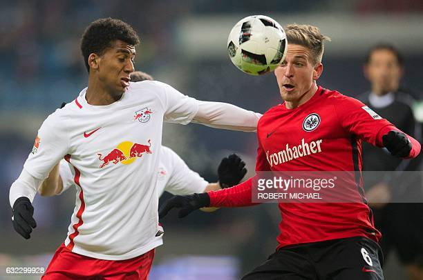 Leipzig´s Brazilian defender Bernardo Fernandes da Silva Junior and Eintracht Frankfurt's defender Bastian Oczipka vie for the ball during the German...