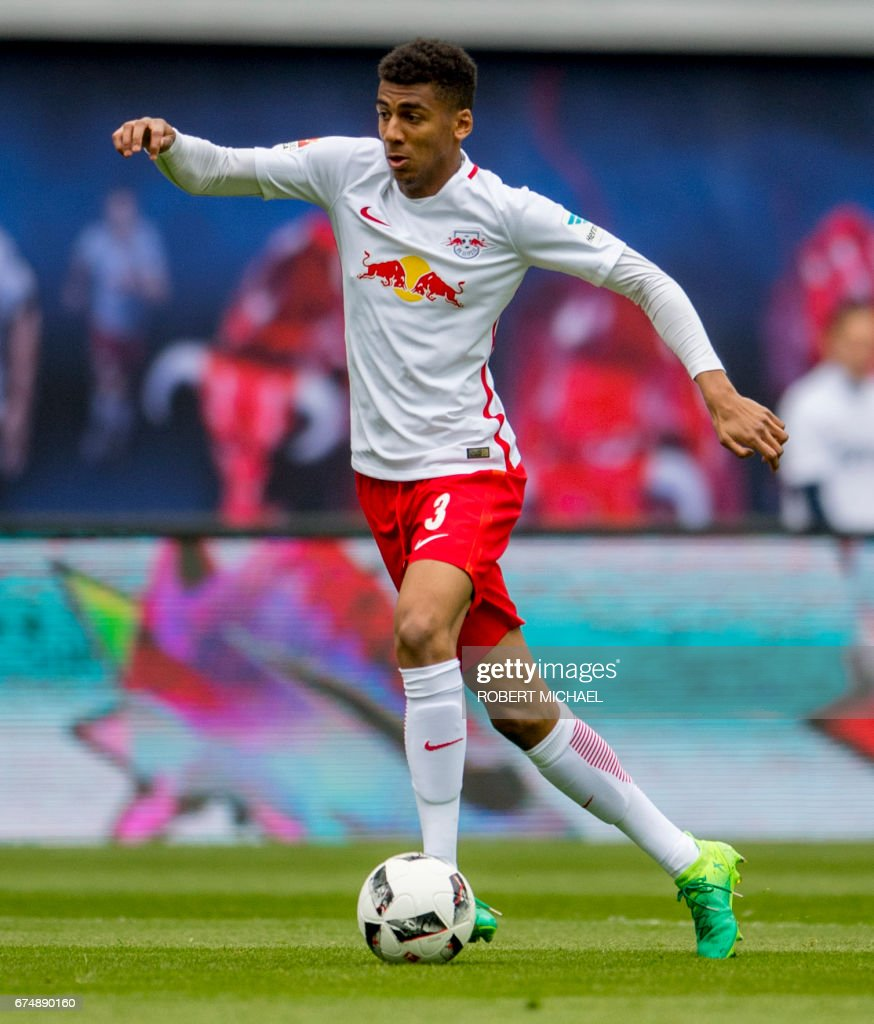 Leipzig´s Brazilian defender Bernardo Fernandes da Silva Junior plays the ball during the German first division Bundesliga football match between RB Leipzig and FC Ingolstadt 04 in Leipzig, eastern Germany on April 29, 2017. /