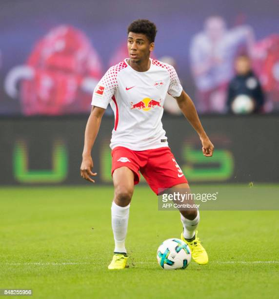 Leipzig´s Brazilian defender Bernardo Fernandes da Silva Junior plays the ball during the German first division Bundesliga football match between RB...