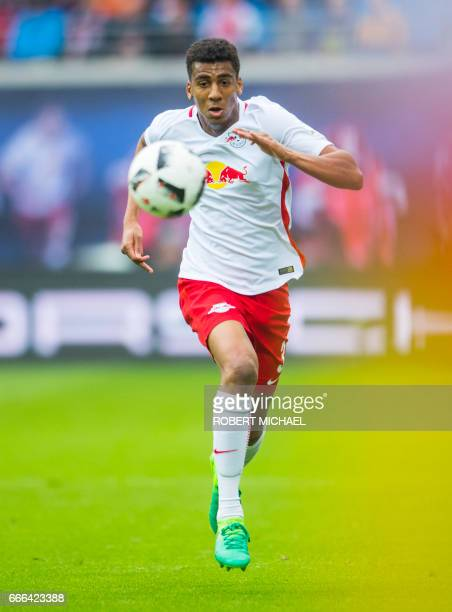 Leipzig's Brazilian defender Bernardo plays the ball during the German first division Bundesliga football match between RB Leipzig and Bayer 04...