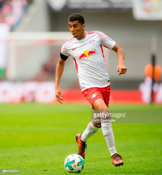 Leipzig's Brazilian defender Bernardo plays the ball during the German first division Bundesliga football match between RB Leipzig and VfB Stuttgart...