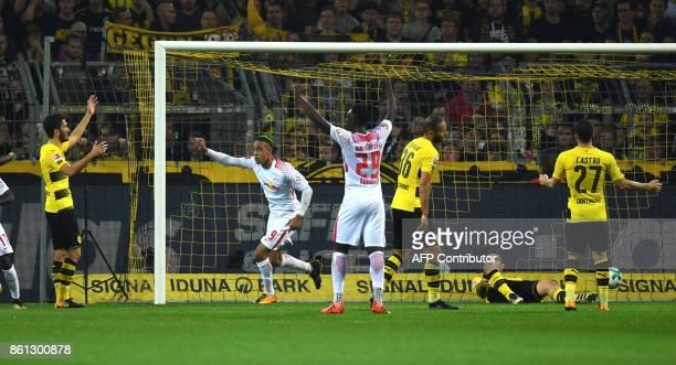 Leipzig's Danish forward Yussuf Poulsen celebrates during the German first division Bundesliga football match Borussia Dortmund vs RB Leipzig in...