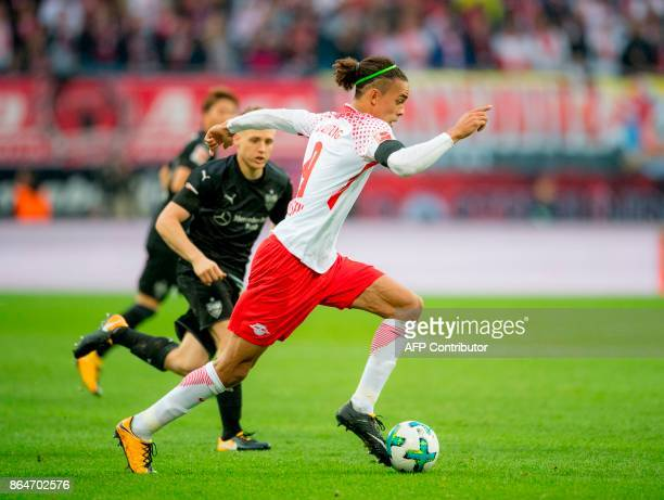 Leipzig's Danish forward Yussuf Poulsen plays the ball during the German first division Bundesliga football match between RB Leipzig and VfB...