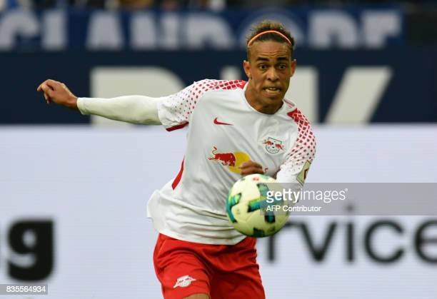 Leipzig´s Danish striker Yussuf Poulsen plays the ball during the German First division Bundesliga football match FC Schalke 04 vs RB Leipzig in...