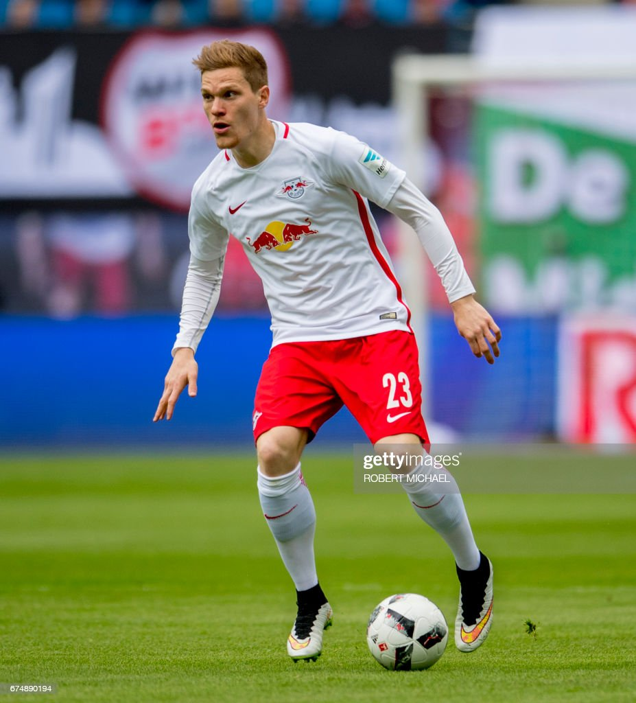 Leipzig´s defender Marcel Halstenberg plays the ball during the German first division Bundesliga football match between RB Leipzig and FC Ingolstadt 04 in Leipzig, eastern Germany on April 29, 2017. /