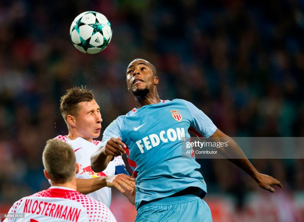 Leipzig´s defender Willi Orban and Monaco´s French defender Djibril Sidibe (R) vie for the ball during the UEFA Champions League group G football match RB Leipzig v AS Monaco in Leipzig, eastern Germany on September 13, 2017. /
