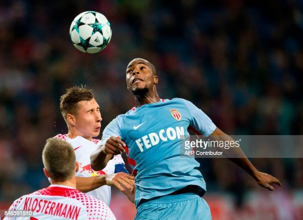 Leipzig´s defender Willi Orban and Monaco´s French defender Djibril Sidibe vie for the ball during the UEFA Champions League group G football match...