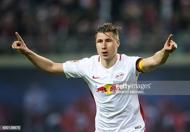 Leipzig´s defender Willi Orban celebrates after scoring the second goal during German first division Bundesliga football match between RB Leipzig and...