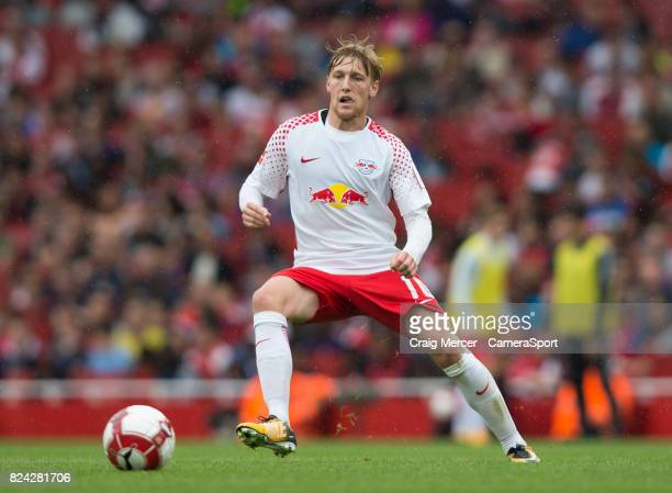 Leipzig's Emil Forsberg in action during the Emirates Cup match between RB Leipzig and Sevilla FC at Emirates Stadium on July 29 2017 in London...