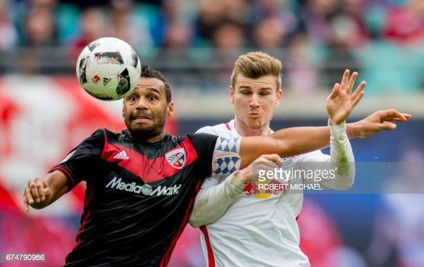 Leipzig's forward Timo Werner and Ingolstadt's defender Marvin Matip vie for the ball during the German first division Bundesliga football match...