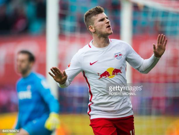 Leipzig's forward Timo Werner celebrates after scoring during the German first division Bundesliga football match between RB Leipzig and FC Cologne...