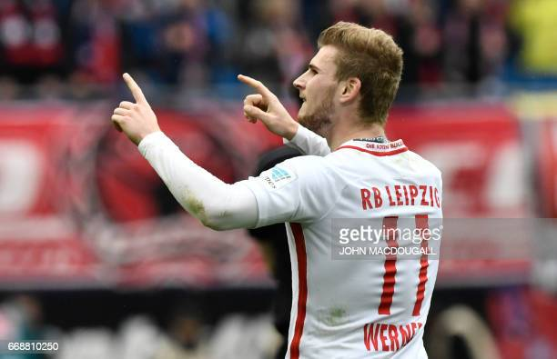 Leipzig's forward Timo Werner celebrates after scoring the second goal during the German First division Bundesliga football match between RB Leipzig...