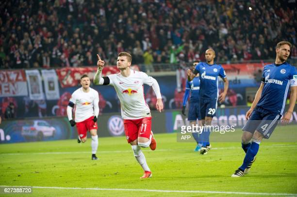 Leipzig's forward Timo Werner celebrates scoring the opening goal during the German first division Bundesliga football match between RB Leipzig and...