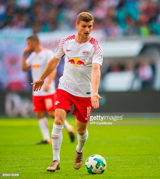 Leipzig's forward Timo Werner plays the ball during the German first division Bundesliga football match between RB Leipzig and SC Freiburg in Leipzig...