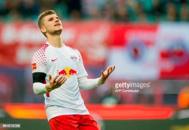 Leipzig's forward Timo Werner reacts during the German first division Bundesliga football match between RB Leipzig and VfB Stuttgart in Leipzig...