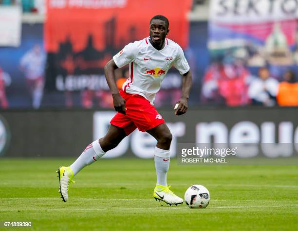 Leipzig´s French defender Dayot Upamecano plays the ball during the German first division Bundesliga football match between RB Leipzig and FC...