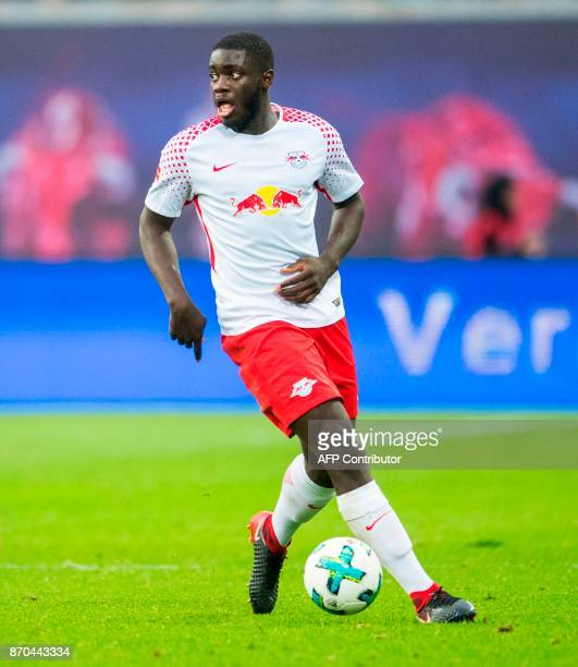 Leipzig's French defender Dayot Upamecano plays the ball during the German first division Bundesliga football match RB Leipzig vs Hannover 96 in...