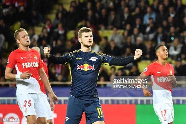 TOPSHOT Leipzig's German forward Timo Werner celebrates after scoring a goal during the UEFA Champions League group G football match between Monaco...