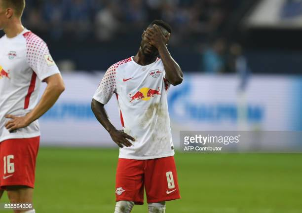 Leipzig´s Guinean midfielder Nabi Keita reacts after the German First division Bundesliga football match FC Schalke 04 vs RB Leipzig in Gelsenkirchen...