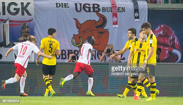 Leipzig´s Guinean midfielder Naby Deco Keita celbrates after scoring the first goal during German first division Bundesliga football match between RB...