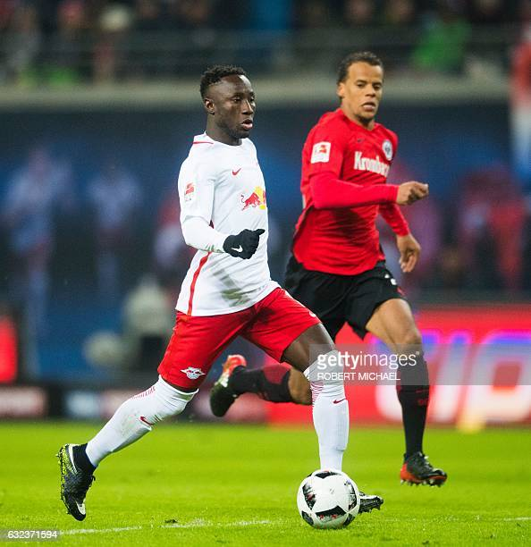 Leipzig's Guinean midfielder Naby Keita plays the ball during the German first division Bundesliga football match between RB Leipzig and Eintracht...