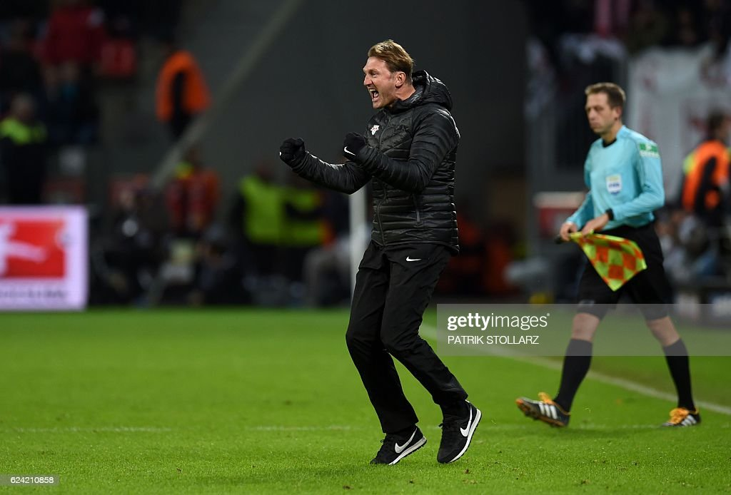 Leipzig´s head coach Ralph Hasenhuettl reacts after the German first division Bundesliga football match of Bayer Leverkusen vs RB Leipzig in Leverkusen, western Germany, on November 18, 2016. / AFP / PATRIK